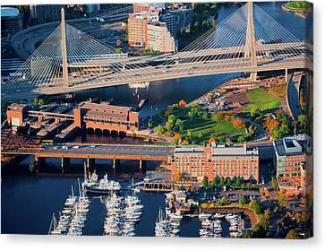 Boston Bridges Canvas Print - Aerial Of Boston Harbor Area Focusing by Panoramic Images