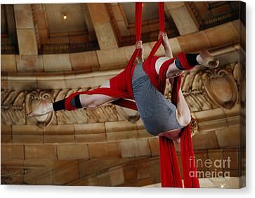 Train Station Canvas Print - Aerial Ribbon Performer At Pennsylvanian Grand Rotunda by Amy Cicconi
