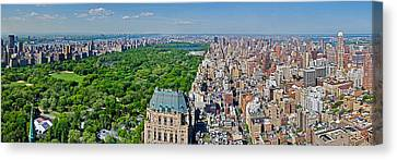 Aerial View Of A City, Central Park Canvas Print by Panoramic Images