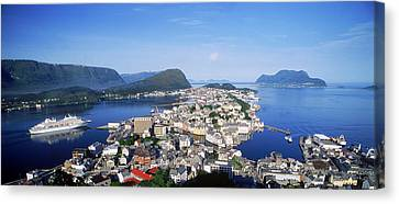 Aerial View Of A Town On An Island Canvas Print by Panoramic Images