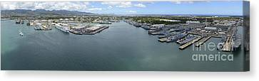 Aerial View Of Military Ships Moored Canvas Print