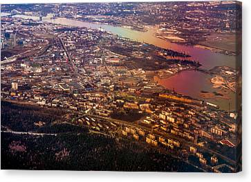 Aerial View Of Riga. Latvia. Rainbow Earth Canvas Print by Jenny Rainbow