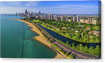 Lincoln Park Lagoon Canvas Print - Aerial View Of Shoreline And Lincoln by Panoramic Images