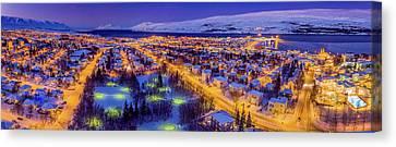 Aerial View - Wintertime In Akureyri Canvas Print