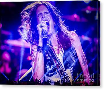 Aerosmith Steven Tyler Singing In Concert Canvas Print by Jani Bryson