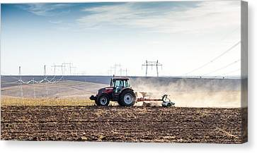 Agriculture Tractor Landscape Canvas Print by Daniel Barbalata