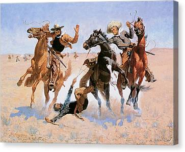 Aiding A Comrade Canvas Print by Frederic Remington