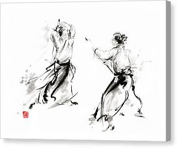 Aikido Enso Circle Martial Arts Sumi-e Original Ink Painting Artwork Canvas Print by Mariusz Szmerdt