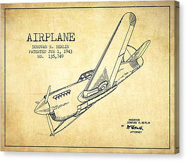 Airplane Patent Drawing From 1943-vintage Canvas Print