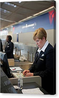 Airport Check-in Desk Canvas Print