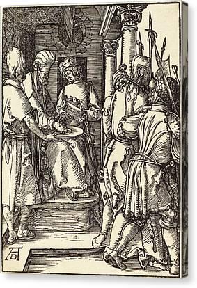Albrecht Dürer German, 1471 - 1528, Pilate Washing Canvas Print