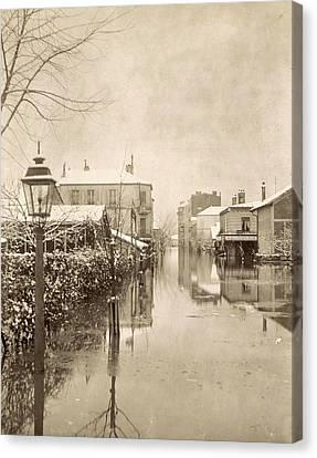 Album Flooding Paris Suburbs In 1910, France Canvas Print by Artokoloro