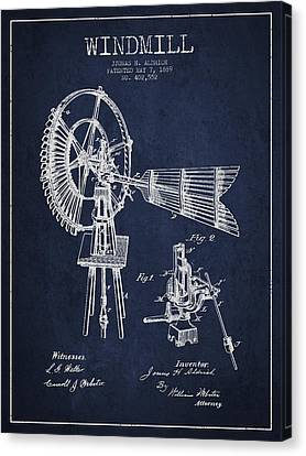 Aldrich Windmill Patent Drawing From 1889 - Green Canvas Print by Aged Pixel