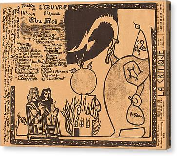 Alfred Jarry French, 1873 - 1907, Ubu Roi Canvas Print by Quint Lox
