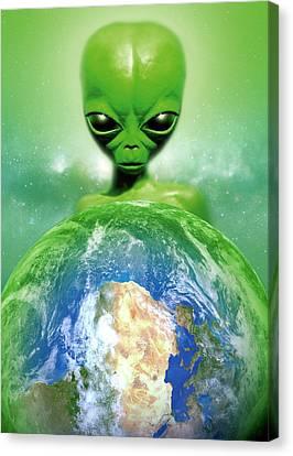 Alien Observing Earth Canvas Print by Detlev Van Ravenswaay