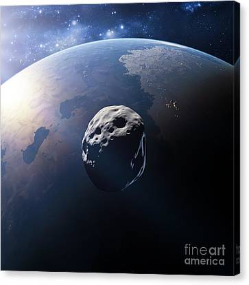 Alien Planet And Asteroid Canvas Print by Detlev van Ravenswaay