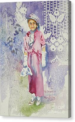 Canvas Print featuring the painting All Dressed Up by Mary Haley-Rocks