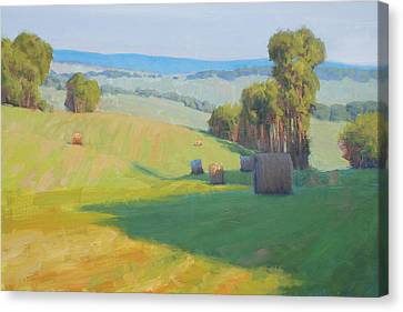 Haybale Canvas Print - Along Rectortown Road by Armand Cabrera