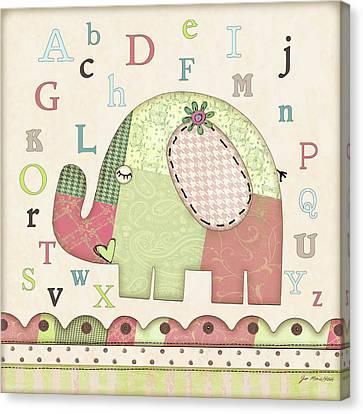 Alphabet Elephant Canvas Print by Jo Moulton
