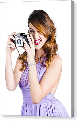Amateur Photographer Practising With Retro Camera Canvas Print by Jorgo Photography - Wall Art Gallery
