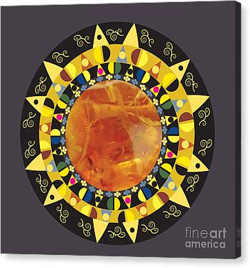 Canvas Print featuring the digital art Amber Mandala by Kim Prowse