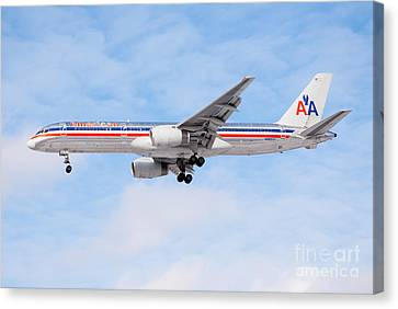 Passenger Plane Canvas Print - Amercian Airlines Boeing 757 Airplane Landing by Paul Velgos