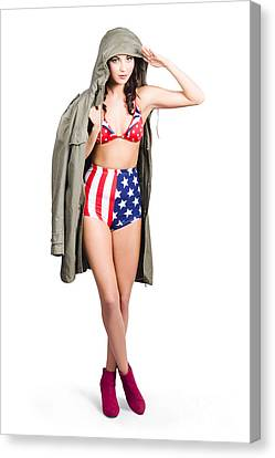 American Army Pinup Girl. Stars And Stripes Salute Canvas Print by Jorgo Photography - Wall Art Gallery