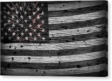 American Flag Fireworks Canvas Print by John Stephens