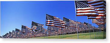 American Flags In Memory Of 911 Canvas Print by Panoramic Images