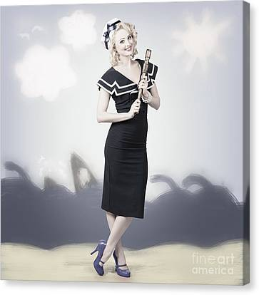 Seafarer Canvas Print - American Navy Pinup Girl On 50s Graphic Background by Jorgo Photography - Wall Art Gallery