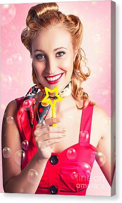 American Pinup Flight Hostess Giving Star Service Canvas Print by Jorgo Photography - Wall Art Gallery