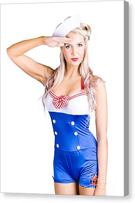 American Pinup Girl Sailor Saluting A Yes Sir Canvas Print by Jorgo Photography - Wall Art Gallery