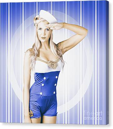 American Pinup Poster Girl In Military Uniform Canvas Print
