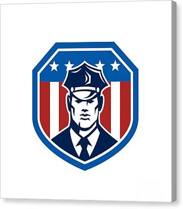 American Security Guard Flag Shield Retro Canvas Print by Aloysius Patrimonio