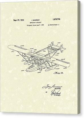 Amphibian Aircraft 1932 Patent Art Canvas Print