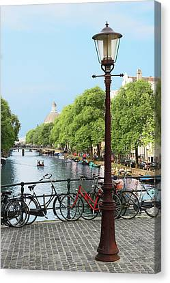 Amsterdam, Holland, Old Gas Lamp Post Canvas Print by Miva Stock