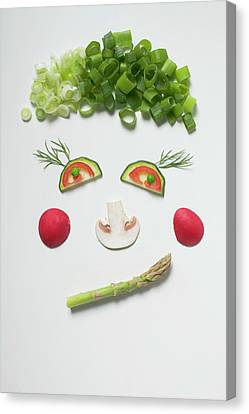 Button Mushrooms Canvas Print - Amusing Face Made From Vegetables, Dill And Mushroom by Foodcollection
