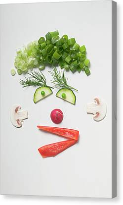 Button Mushrooms Canvas Print - Amusing Face Made From Vegetables, Dill And Mushrooms by Foodcollection