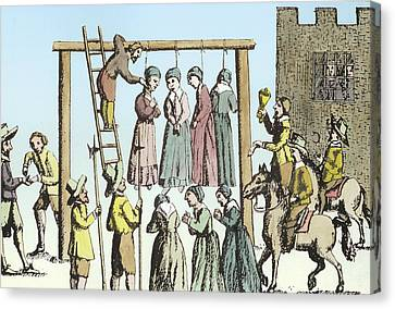 An Execution Of Witches In England Canvas Print