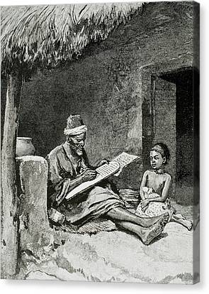 An Old Man Teach To Write A Child Canvas Print by Prisma Archivo
