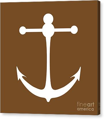 Anchor In Brown And White Canvas Print