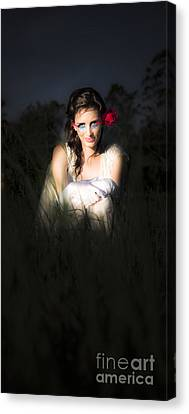 Angel Sitting In The Darkness Canvas Print