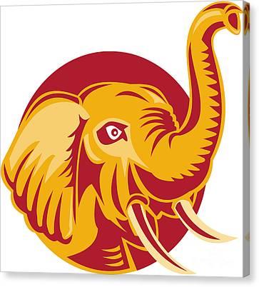 Angry African Elephant Head Retro Canvas Print by Aloysius Patrimonio