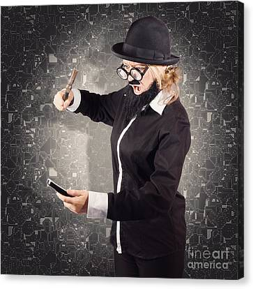 Angry Businessman Breaking Smartphone With Hammer Canvas Print by Jorgo Photography - Wall Art Gallery