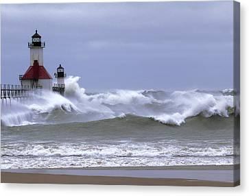 Angry Lake Michigan  Canvas Print