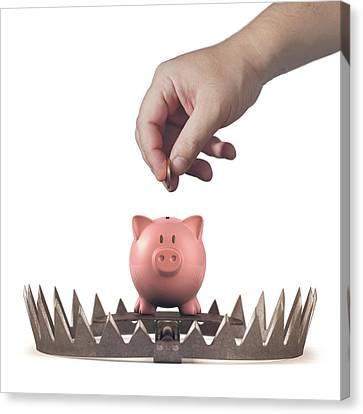 Piggy Bank Canvas Print - Animal Trap With Piggy Bank by Ktsdesign