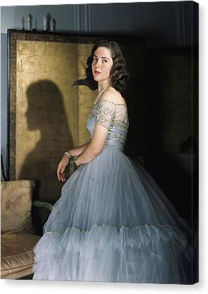 Tulle Canvas Print - Anne Bullitt Wearing A Tulle Gown by Horst P. Horst