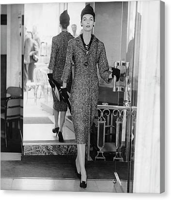 Dior Canvas Print - Anne St. Marie Wearing A Dior Dress by Henry Clarke