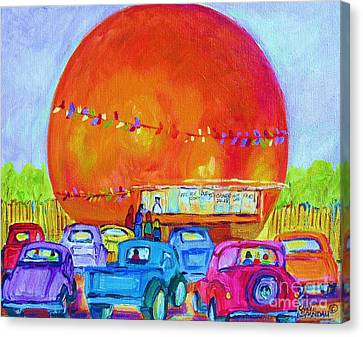 Canvas Print featuring the painting Antique Cars At The Julep by Carole Spandau