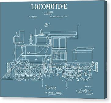 Antique Locomotive Patent Canvas Print by Dan Sproul